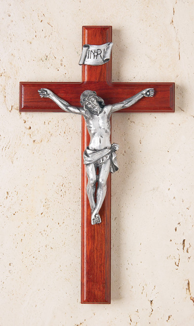 "12"" Rosewood Crucifix with 6"" Antique Silver Corpus"