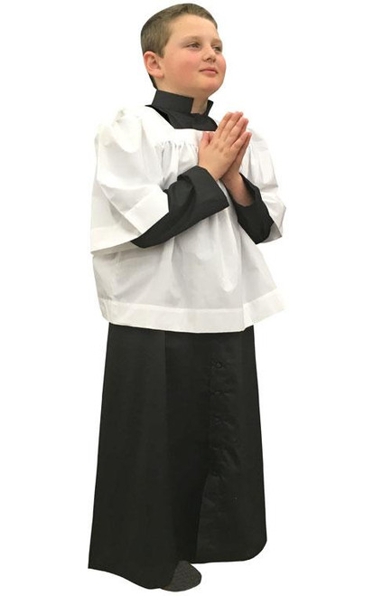 #561 Black Altar Server Cassock | Poly/Combed Cotton | All Sizes | Red or Black