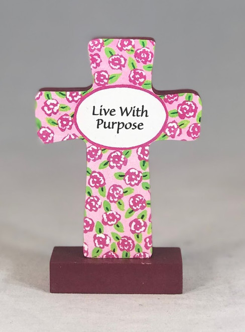 "4"" Live With Purpose Standing Cross"