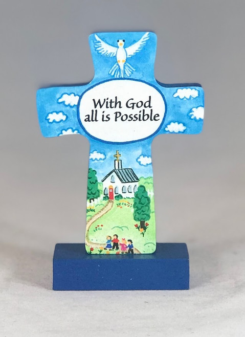 "4"" With God All Is Possible Standing Cross"