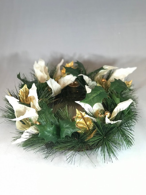 Advent Wreath with White Flowers & Gold Bulbs