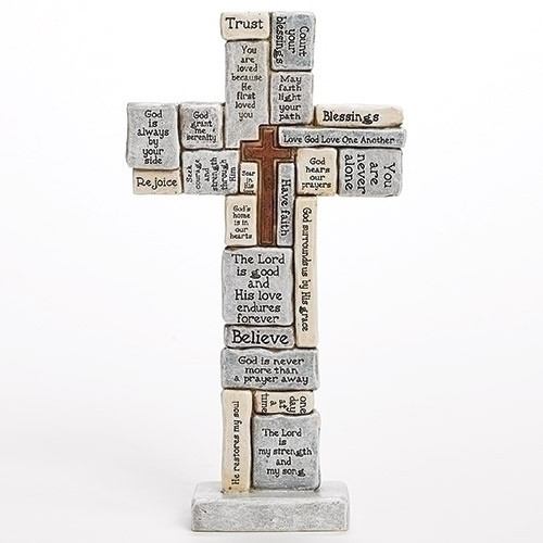 "12.5"" Standing Crossword Wall Cross"