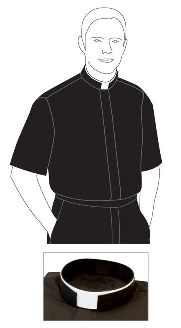 Black Torino (65% Poly/35% Cotton) | Tonsure/Roman Collar | Short Sleeve