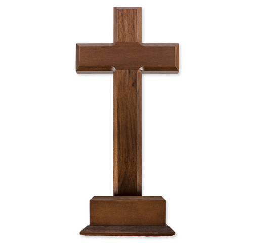 """Latin Style"" Walnut Wood Standing Cross, 10"""