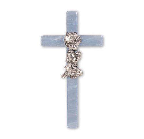 Blue Pearlized Cross with Praying Boy Figure, 7""
