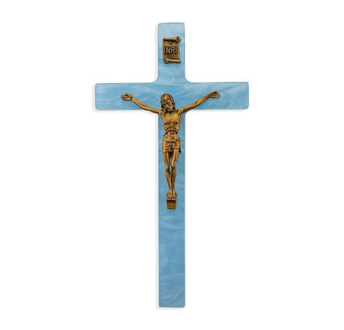 Blue Pearlized Crucifix