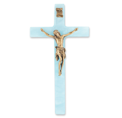 Blue Pearlized Crucifix, 7"