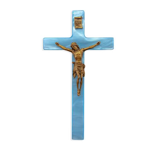 """Blue Pearlized Crucifix, 7"""""""
