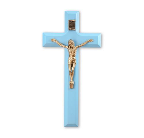 """Blue Wood 7"""" Crucifix"""