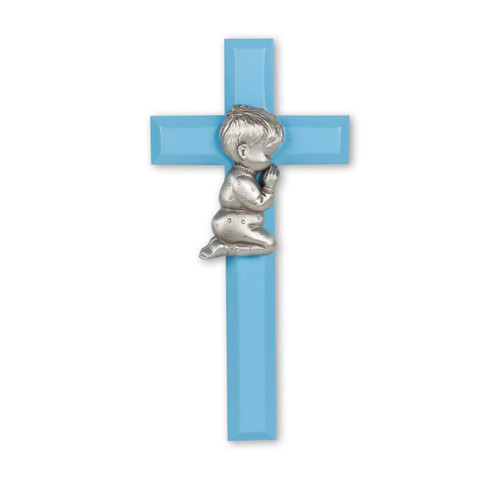 Blue Wood Cross with Praying Boy, 7""