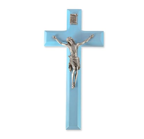 """Blue Wood Crucifix, 7"""""""