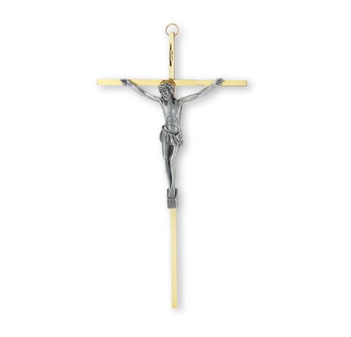 """Brass Finished Wall Crucifix, 10"""""""