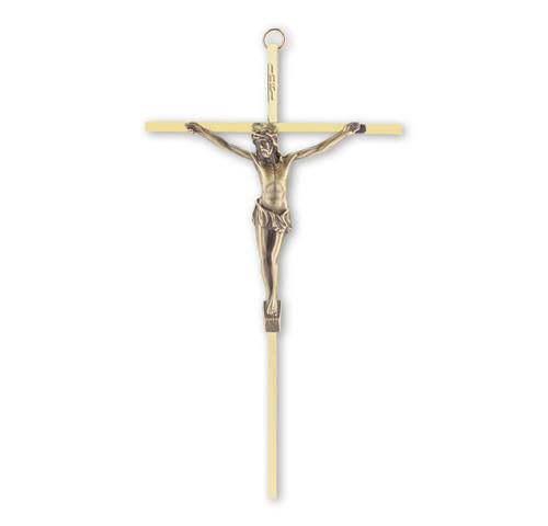 "Brass Wall Crucifix, 10"""