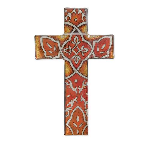 "Burnt Orange Glass Cross, 10"""