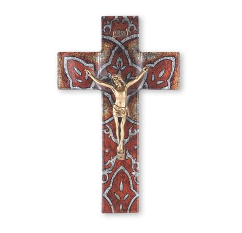 "Burnt Orange Glass Crucifix, 10"" | Style A"
