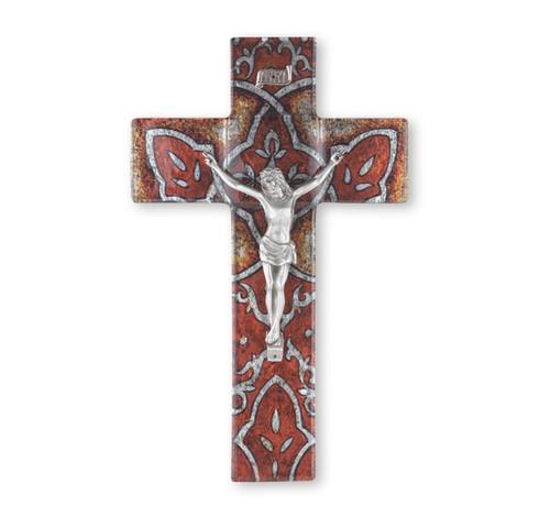 """Burnt Orange Glass Crucifix, 10"""""""