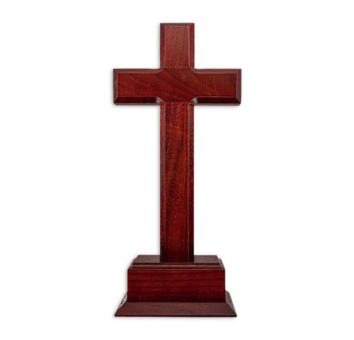 """Dark Cherry Wood Standing Cross, 10"""""""