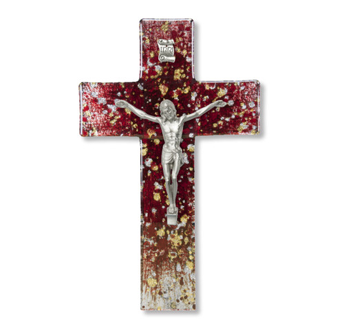 """Deep Red and Speckled Gold and Silver Glass Crucifix, 7"""""""