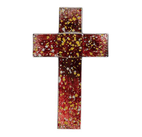 """Deep Red Glass Cross, 10"""""""