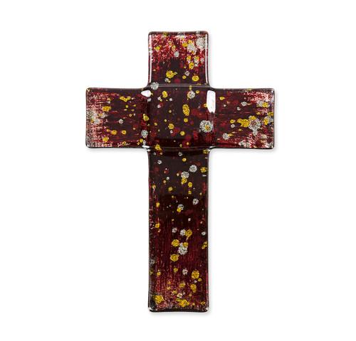 """Deep Red Glass Cross, 7"""""""