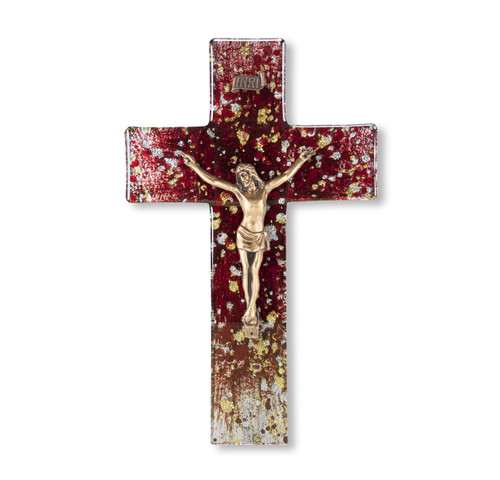 Deep Red Glass Crucifix, 10"