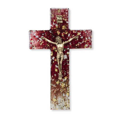 Deep Red Glass Crucifix, 7"