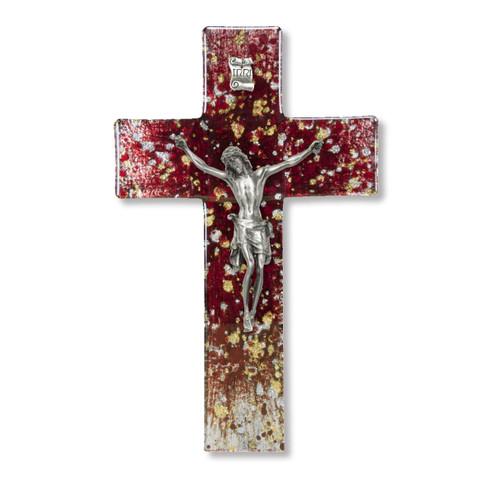 "Deep Red Glass Crucifix, 7"""