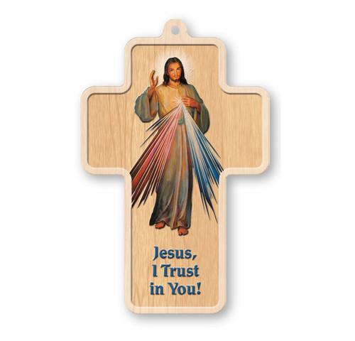 "Divine Mercy Laser Engraved Wood Cross, 5"""