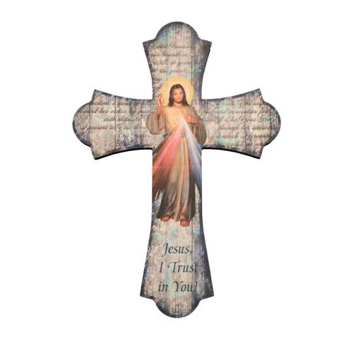 "Divine Mercy Wood Cross, 10"""