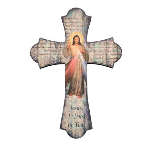 "Divine Mercy Wood Cross, 12"""