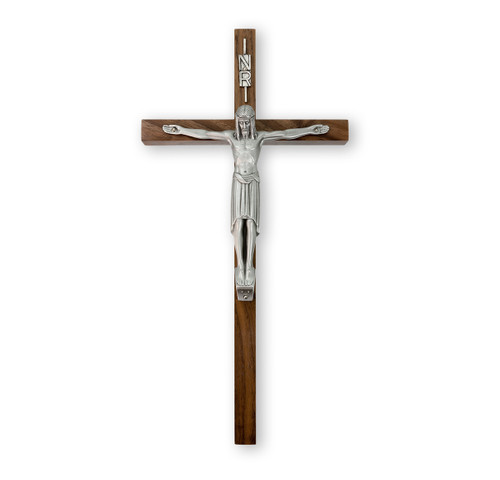 "Genuine Walnut Wall Crucifix, 12"""