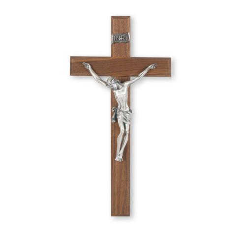 "Genuine Walnut Wall Crucifix, 13"""