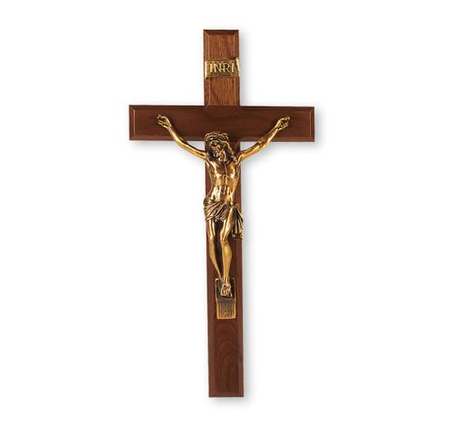 "Genuine Walnut Wall Crucifix,, 13"""
