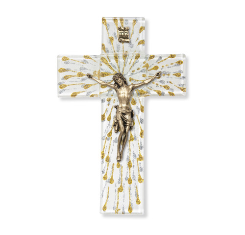 Gold and Silver Glass Crucifix, 7"