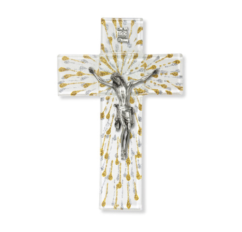 """Gold and Silver Glass Crucifix, 7"""""""
