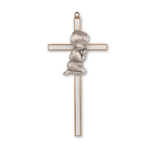 Gold Plated Pearlized Cross with Praying Boy, 7""