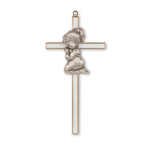 Gold Plated Pearlized Cross with Praying Girl, 7""