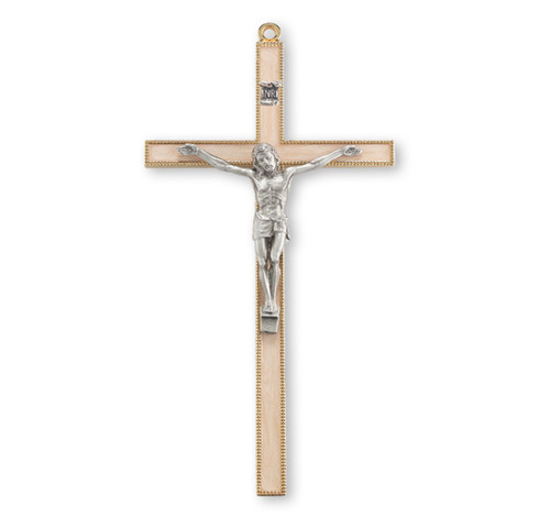 """7"""" Gold-Plated Pearlized Wall Crucifix"""