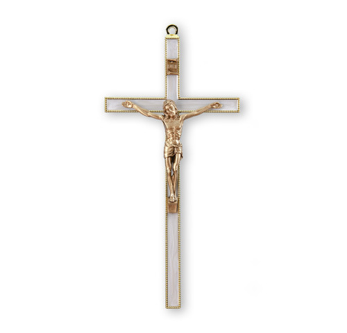 """Gold-Plated Pearlized Wall Crucifix, 7"""" 