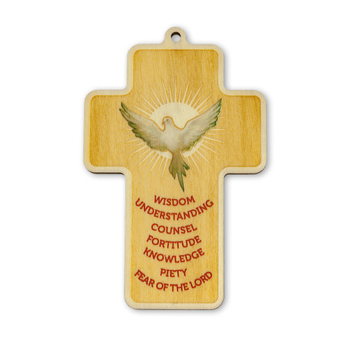 Holy Spirit -Confirmation Engraved Wood Cross, 5"