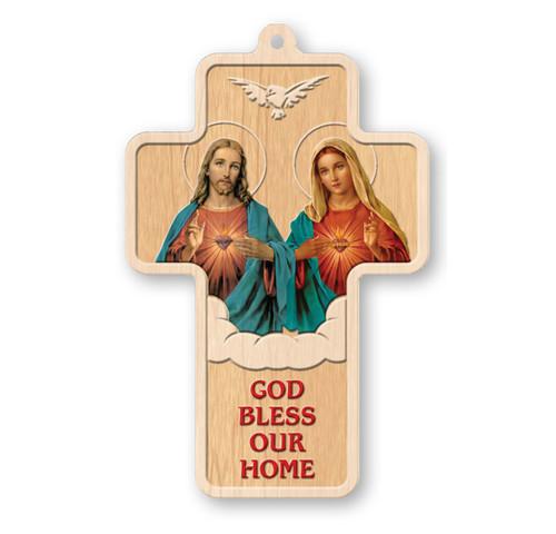 "House Blessing Laser Engraved Wood Cross, 5"""