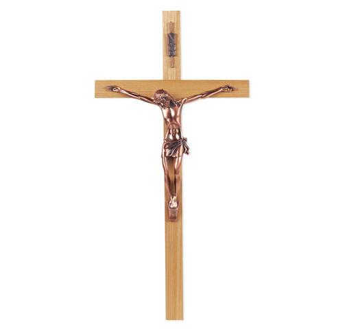 "Oak Wall Crucifix, 12"""