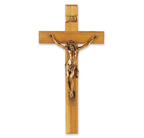 "Oak Wall Wood Crucifix, 13"""
