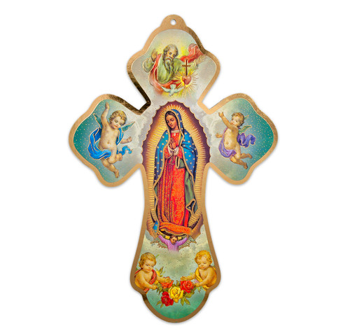 """Our Lady of Guadalupe Cross with Holy Spirit and Cherubs, 11"""""""