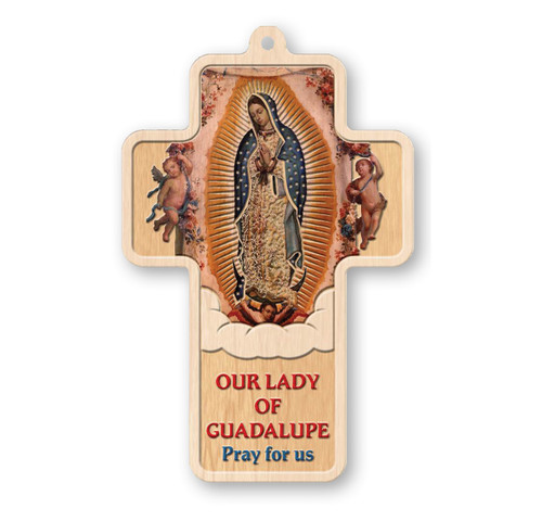 """Our Lady of Guadalupe Laser Engraved Wood Cross, 5"""""""