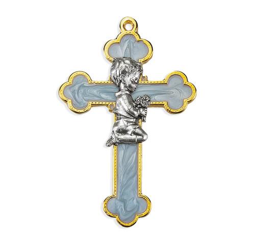 """Pearlized Blue Boy Cross, 3-1/2"""""""
