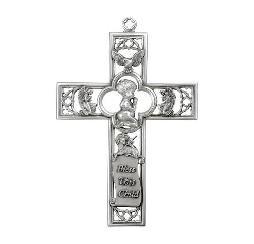 "Pewter Praying Boy Cross, 6"" | Style A"