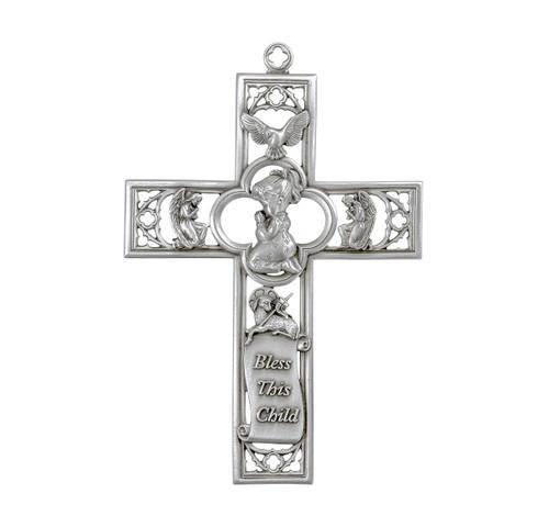 """Pewter Praying Girl Cross, 6"""""""