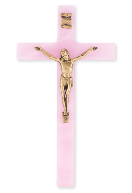 """Pink Pearlized Crucifix, 7""""   Style A"""