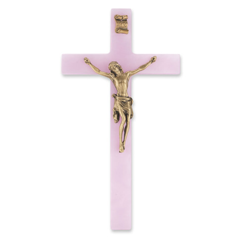 """Pink Pearlized Crucifix, 7""""   Style C"""